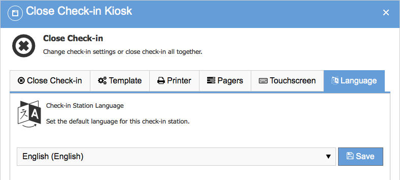 Multi-lingual check-in station default language