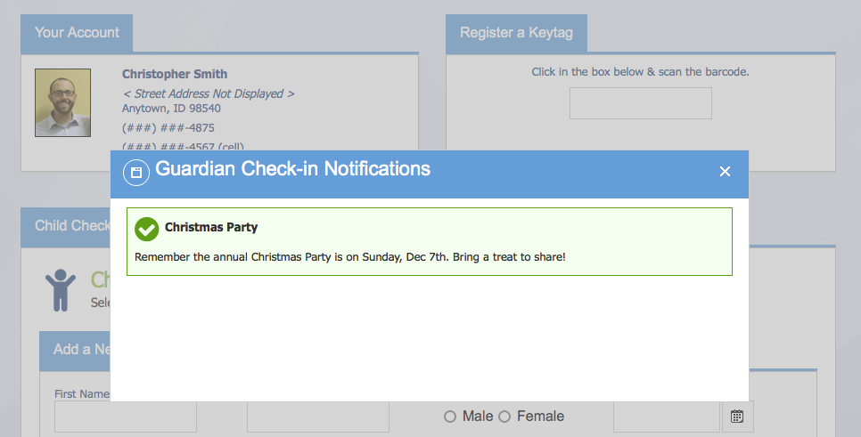 KidCheck Secure Children's Check-in Guardian Notification