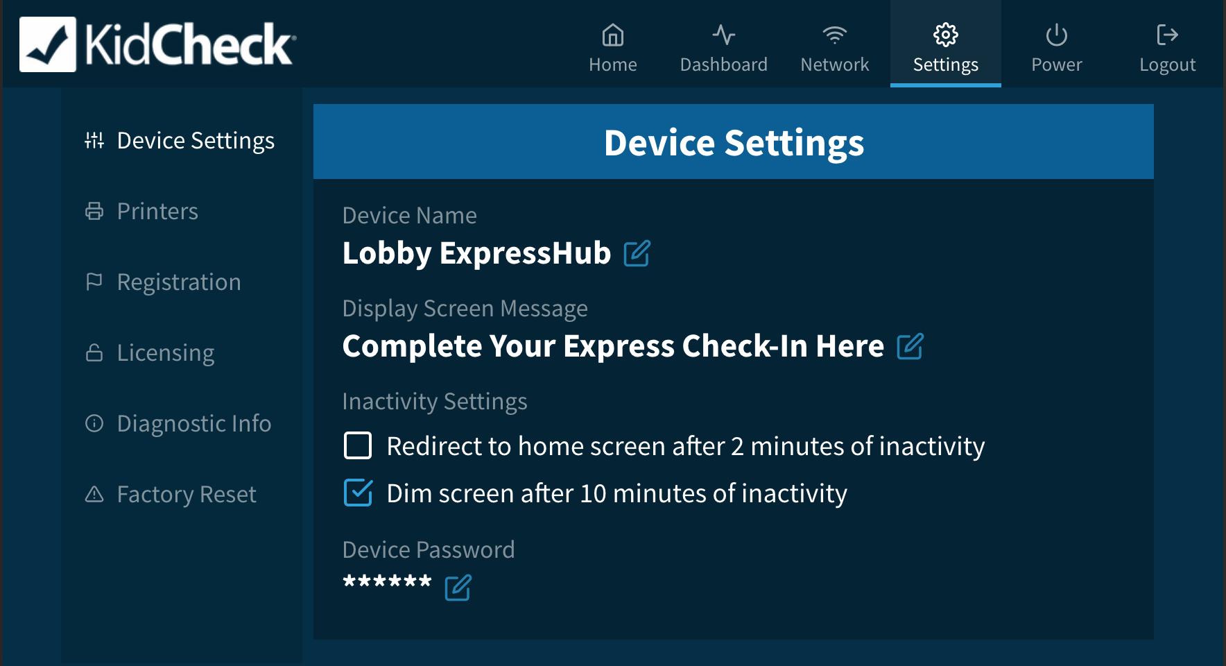ExpressHub's Settings area