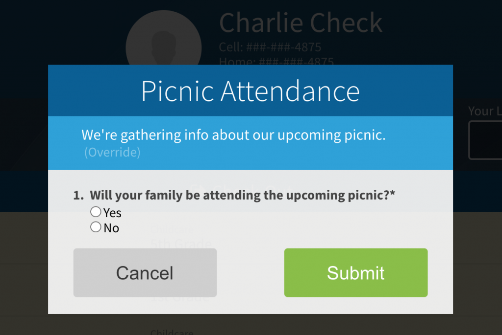 Displaying a survey during check-in